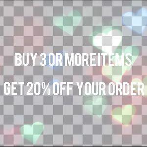 Buy 3 items get 20% off